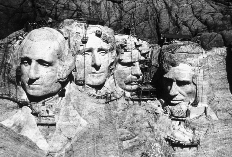 Construction of the Mount Rushmore National Memorial, circa 1941.