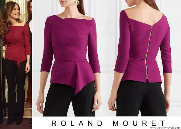 Princess Sofia wore ROLAND MOURET Almeley asymmetric crepe top