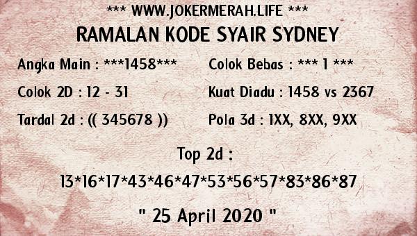Prediksi Togel Sidney 25 April 2020 - Joker Merah Sidney
