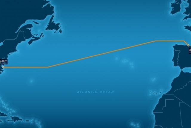 Крупнейшие волоконно-оптические кабели, соединяющие Европу и Америку