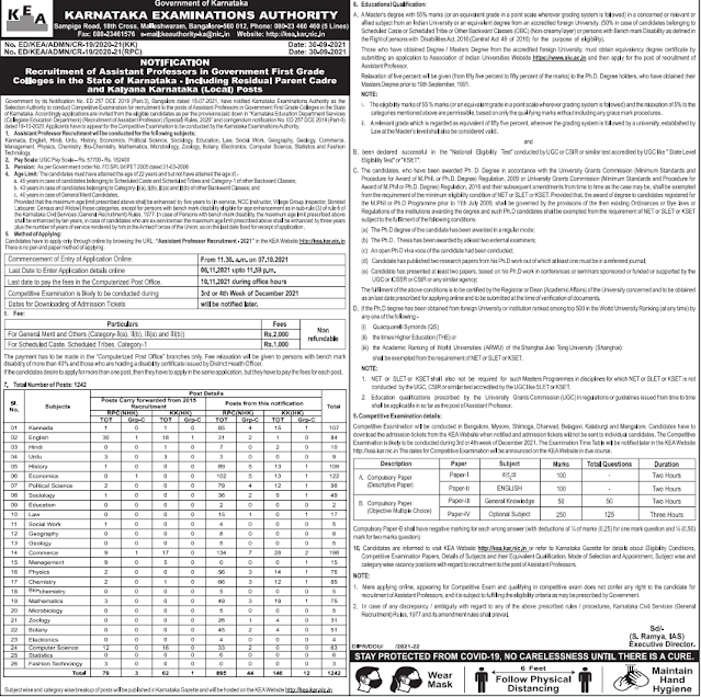 Karnataka Assistant Professor Recruitment 2021 Apply Online