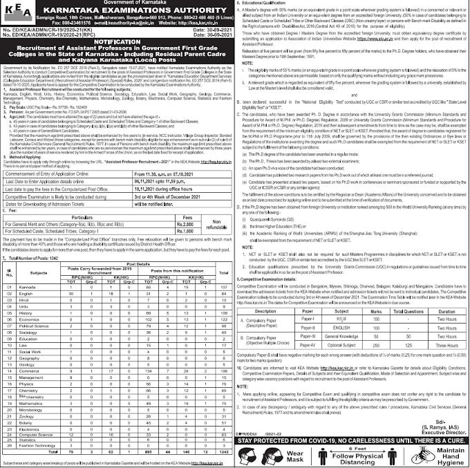 KEA Assistant Professor Recruitment 2021 : Karnataka 1242 AP post online form notification latest update