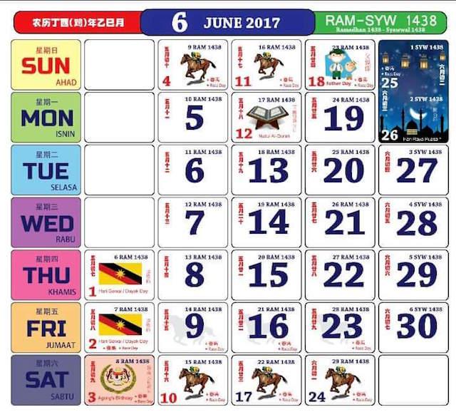 Gambar Kalendar 2017 Termasuk Cuti Peristiwa bulan 6 Jun