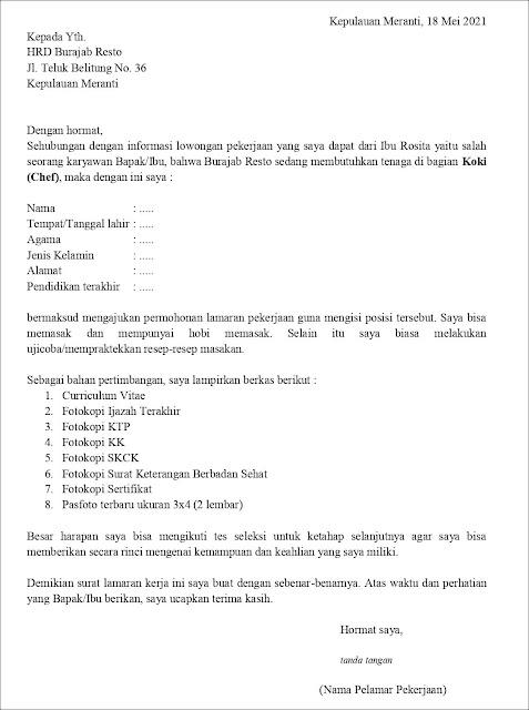 Contoh Application Letter Juru Masak/Koki/Chef (Fresh Graduate) Berdasarkan Infromasi Dari Seseorang