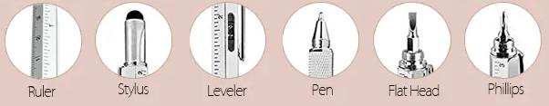 6 in 1 Metal Multitool Pen Handy Screwdriver Ruler Spirit Level - Black