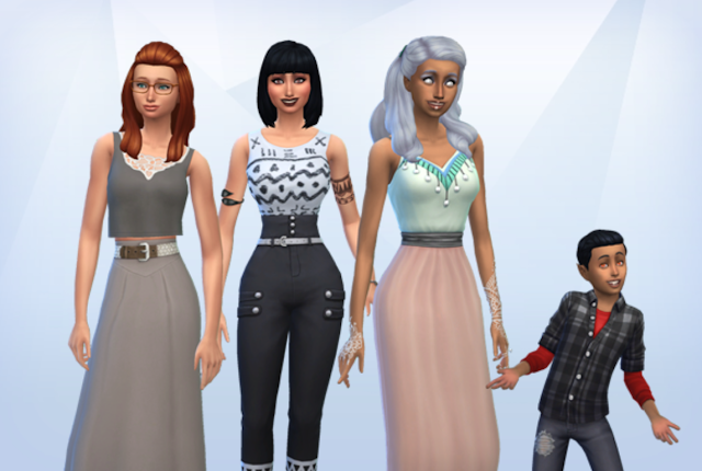 Screen grab of 4 sims after create a sim mode