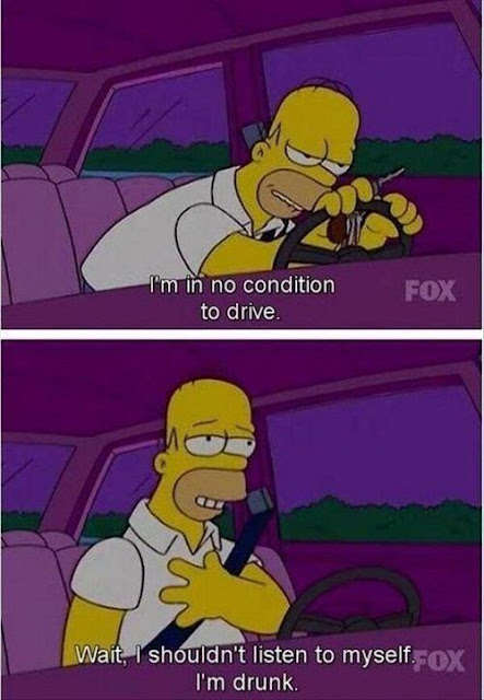 Homer talking to himself whilst driving home drunk