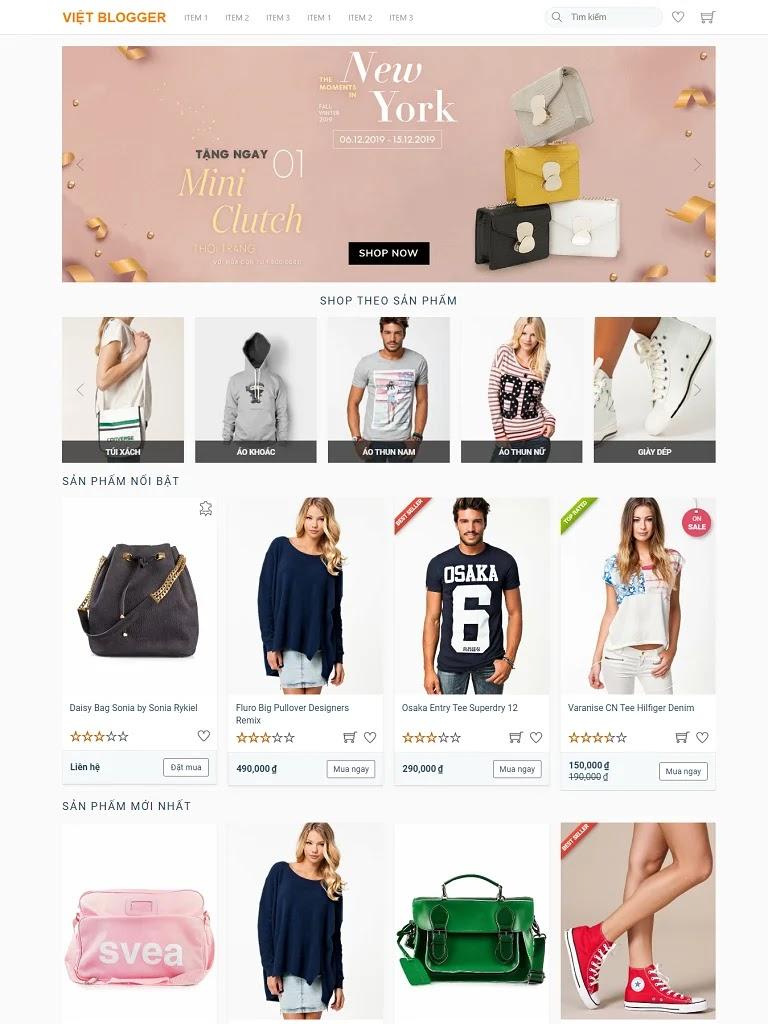 Theme Blogger bán hàng Việt Designer Shop chuẩn Seo
