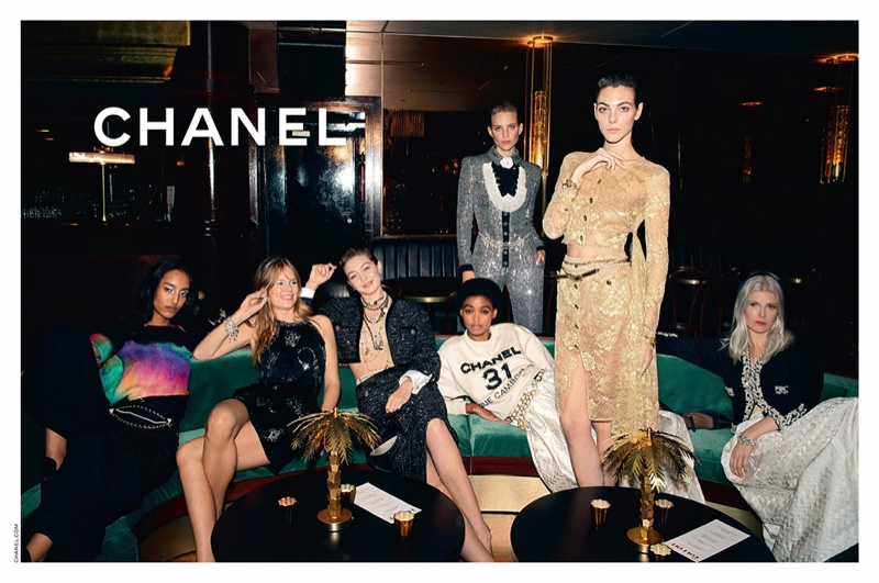 Gigi Hadid, Mona Tougaard, Ola Rudnicka, Anna Ewers, Rebecca Leigh Longendyke, Pan Haowen, Vittoria Ceretti, and Blesyna Minher star in Chanel pre-fall 2020 campaign.