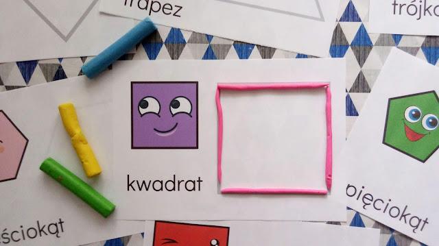 figury geometryczne dla dzieci plansze do wyklejania plasteliną, geometria i matematyka dla dzieci