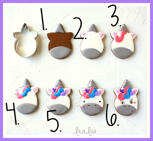 Unicorn sugar cookie decorating tutorial - step by step