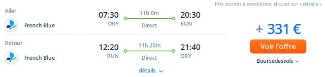 comparateur des meilleurs prix pour voyager à la Réunion . Prix billet d'avion avec French Blue: vols aller retour : 331 euros.
