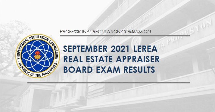 LEREA RESULTS: September 2021 Real Estate Appraiser board exam list of passers