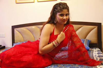 Neha Shree in Red Saree