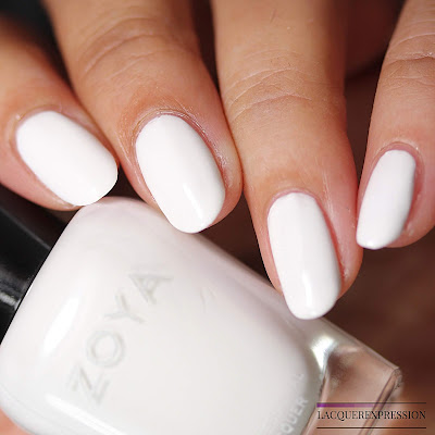 Nail polish swatch of Snow white from the Zoya Bridal Bliss collection