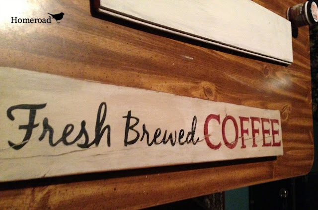 Fresh Brewed Coffee sign on table