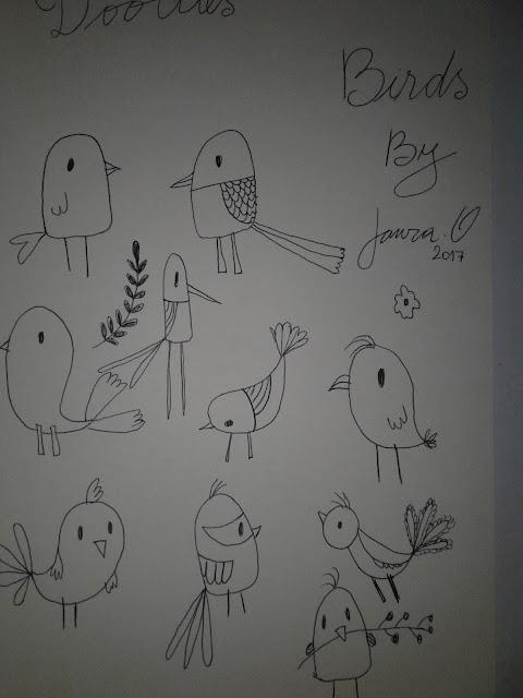 doodles, birds, dibujo, pájaros
