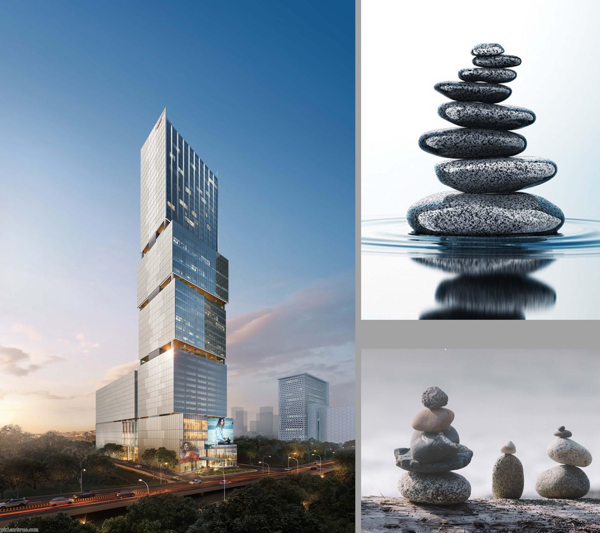 Phối cảnh tháp Chipmong và biểu tượng đá xếp chồng lên nhau