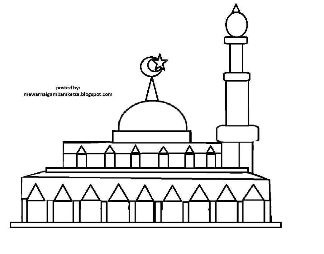 Mewarnai Gambar: Mewarnai Gambar Sketsa Masjid 6