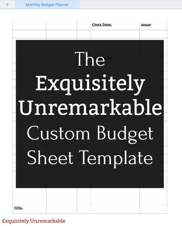 Custom Budget Sheet