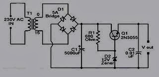 Skema rangkaian adaptor 12 volt 2N3055