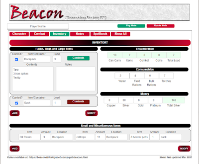 Beacon Sheet Inventory Page