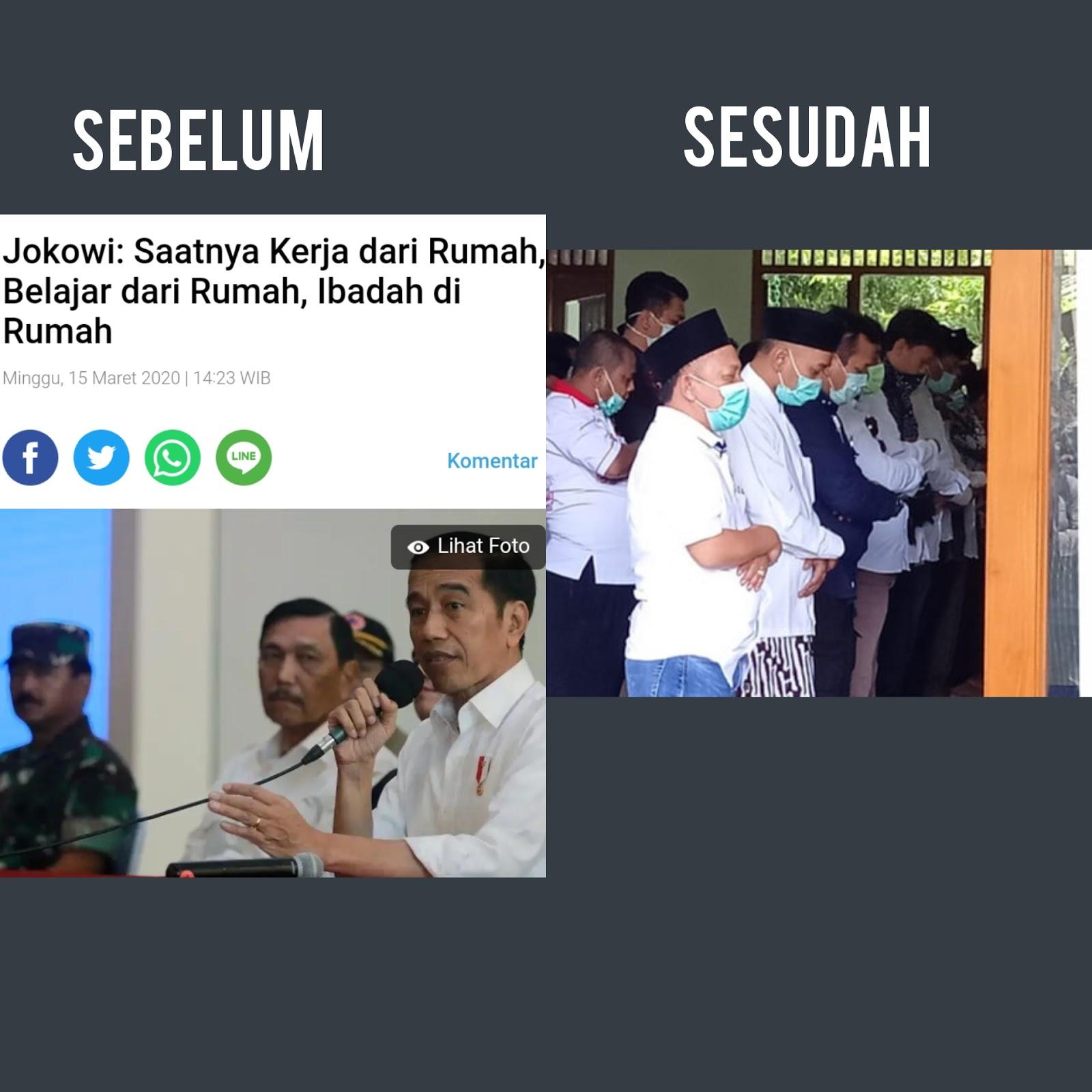 Galakkan Ibadah di Rumah Saja, Jokowi Tetap Sholatkan Jenazah Ibunya di Masjid
