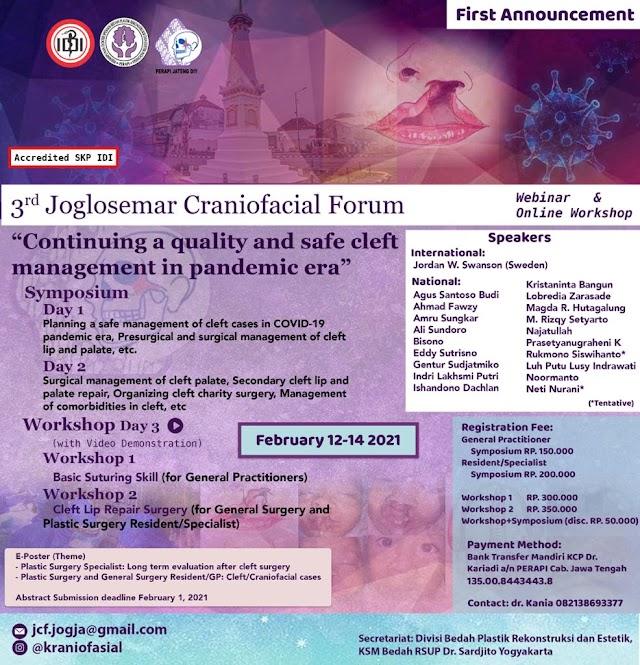 3rd Joglosemar Craniofacial Forum Webinar & Online Workshop