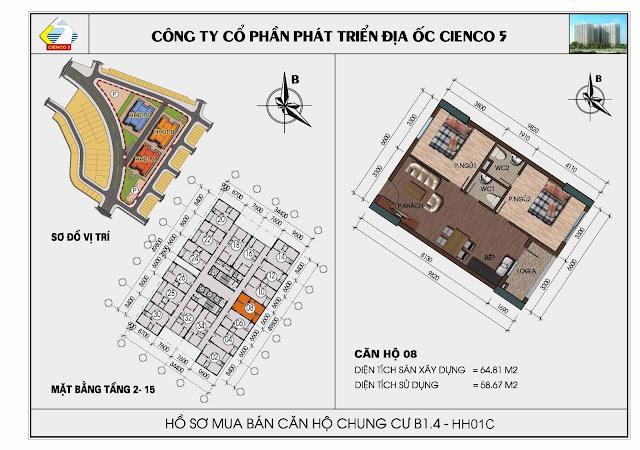 Sơ đồ căn hộ 08 chung cư Thanh Hà Cienco 5 tòa HH01C căn 08