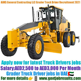 AIMS General Contracting LLC Grader Truck Driver Recruitment 2021-22