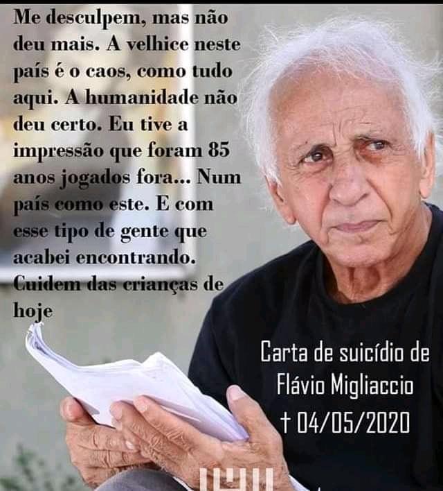 """ATOR FLÁVIO MIGLIACCIO SE SUICIDOU E DEIXOU CARTA: """"A HUMANIDADE NÃO DEU CERTO"""""""