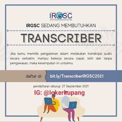 Lowongan Kerja IRGSC Sebagai Transcriber