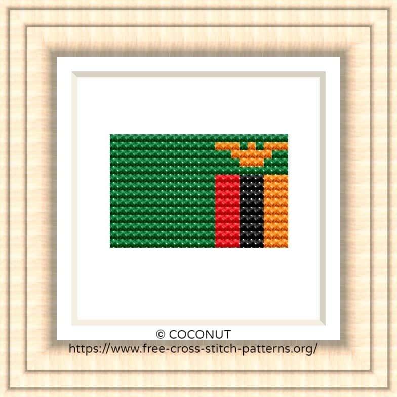 NATIONAL FLAG OF ZAMBIA CROSS STITCH CHART