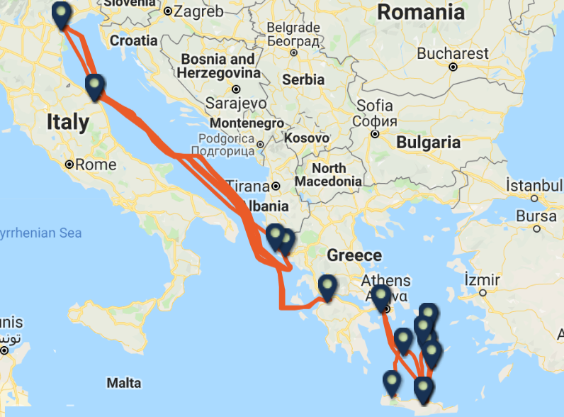 MINOAN LINES routes and ports