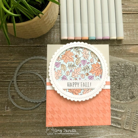 Happy Fall Card by Amy Tsuruta | Fall Roundabout Stamp Set, Circle Frames Die Set, Banner Trio Die Set and Houndstooth Stencil by Newton's Nook Designs #newtonsnook #handmade