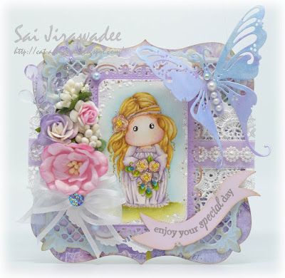Magnolia Tilda with Peony Headband Pastel Card