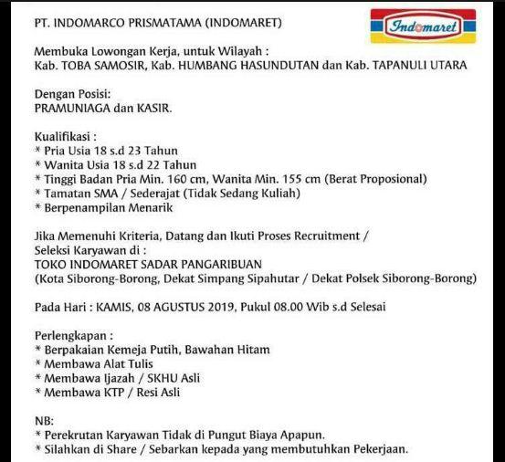 Lowongan Kerja Di Pt Indomarco Prismatama Indomaret Di Siborong Borong Loker Medan Desember 2019