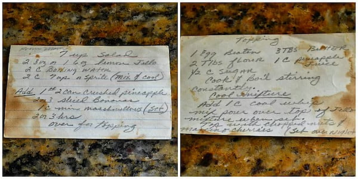 A hand written recipe card for 7 Up Jello Salad.