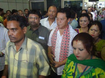 Bimal Gurung at Bagdogra airport on Wednesday.