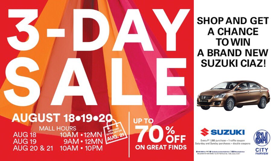 SM Malls 3 Day Sale August 18 to 20 2017 | Pamurahan - Your