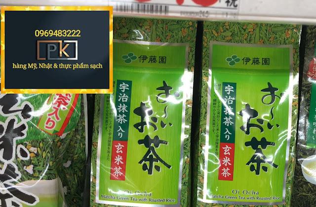 🍵 Trà xanh gạo lức rang thô, Itoen Nhật.