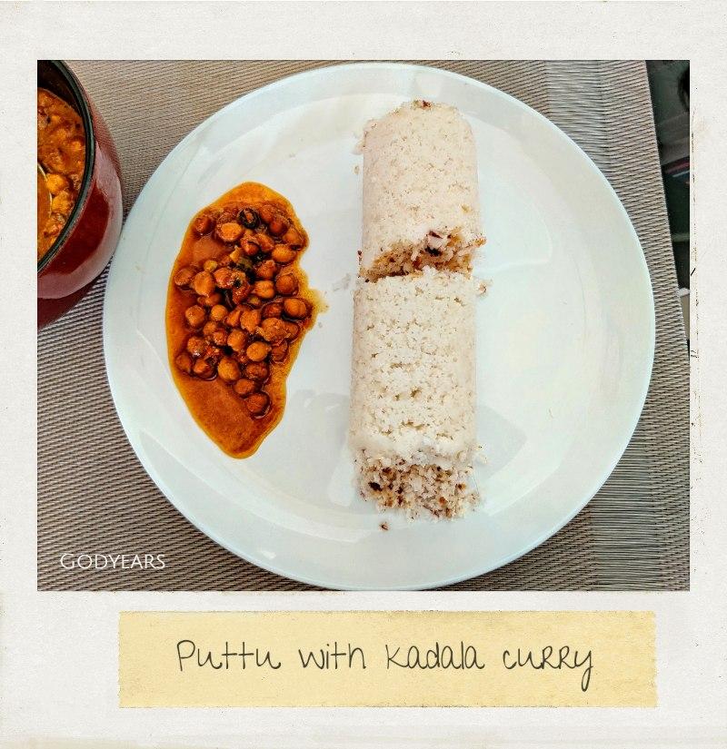 Kerala breakfast - puttu and kadala curry
