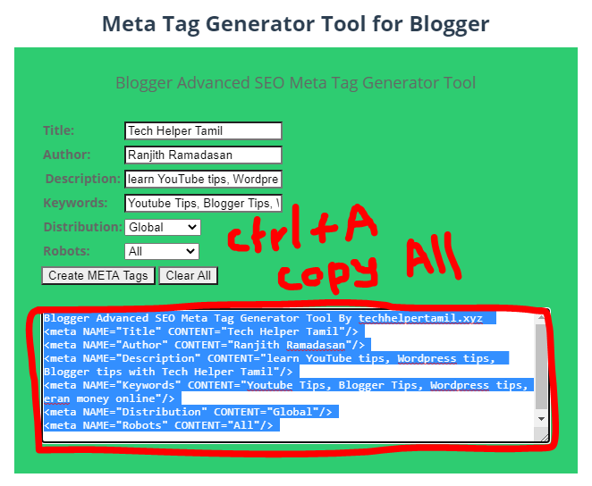 How to Create Meta Tag for Blogger in Tamil