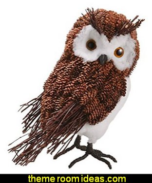 Modern Lodge Decorative Rustic Pine Cone Owl Christmas Table Top Figure