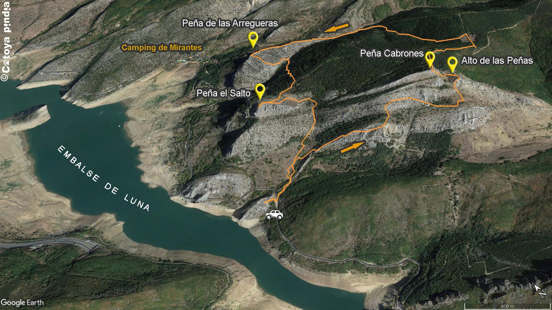 Mapa de la ruta a Peña Cabrones, Arregueras y el Salto desde Mirantes de Luna en la comarca leonesa de Luna.