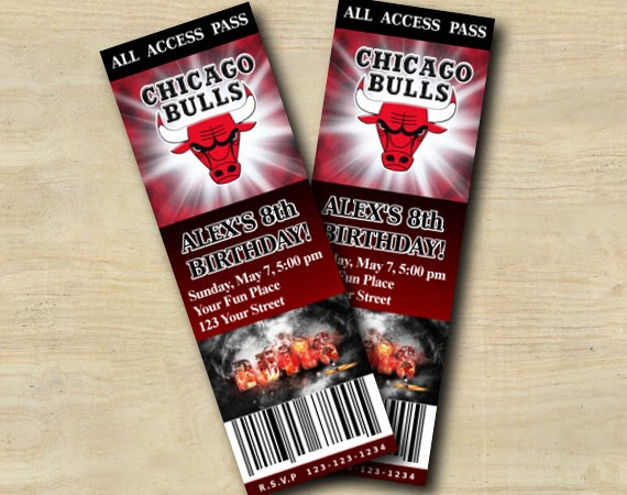 custom birthday party invitations  chicago bulls ticket