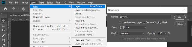 Gambar menu Layer > New > Layer Mahasiswa excel