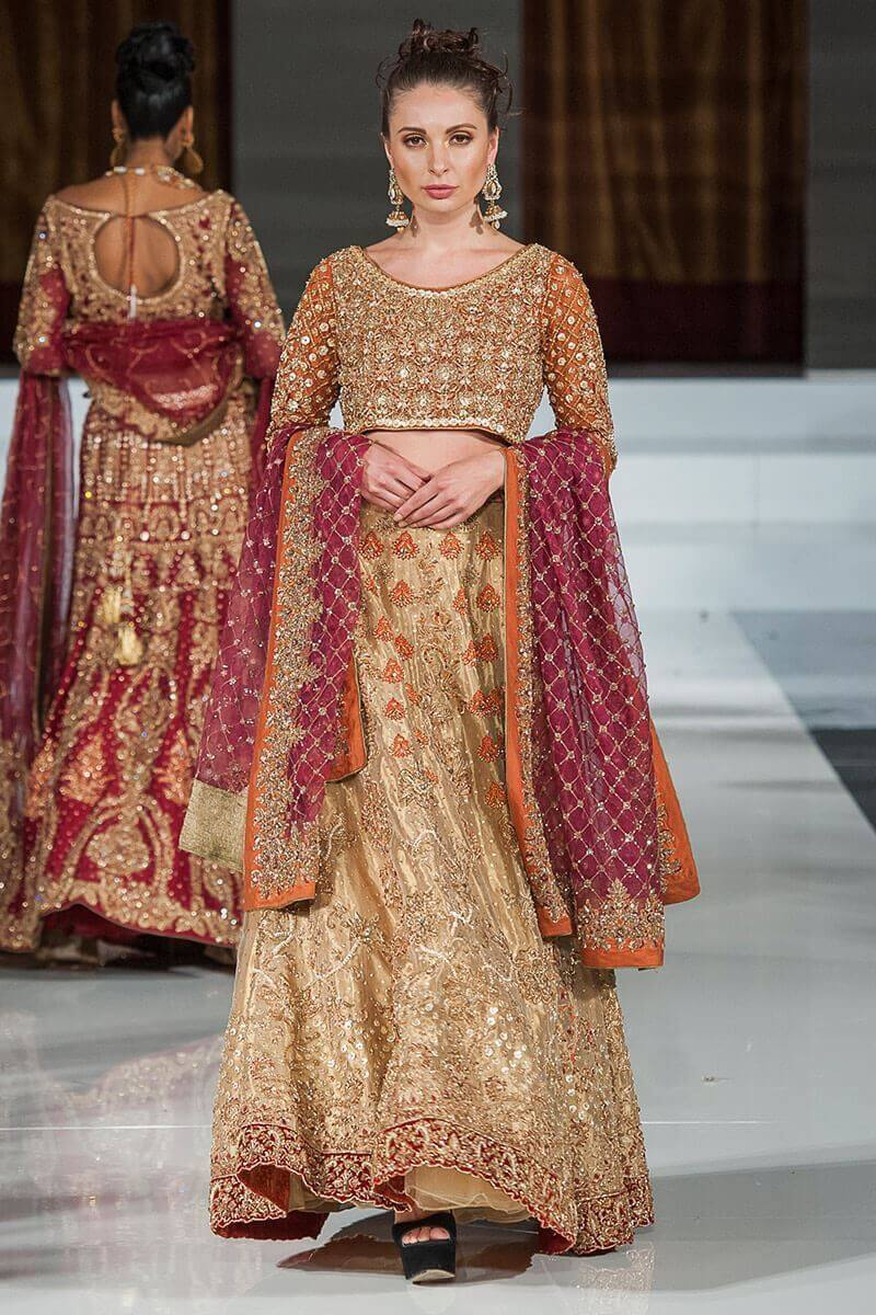 Aisha Imran Golden and plum Bridal Lehnga choli