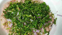 Marinating ground chicken with mint coriander chopped onion garlic and ginger