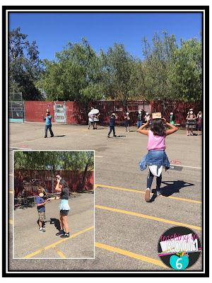 The STEM relay race to test the apple holding structures they built.